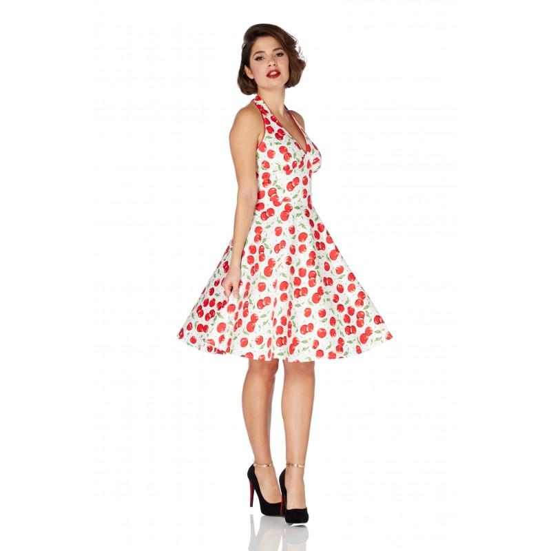 Vestido Estampado Cerejas Vintage Comprimento Médio Branco e Vermelho