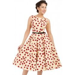 Vestido Estampado Cerejas Vintage Comprimento Médio Bege e Vermelho