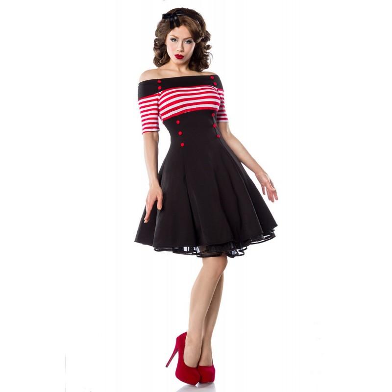 Vestido Estampado Vintage Marinheira Comprimento Médio Preto e Vermelho