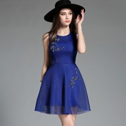 Vestido Festa Curto Azul Com Brilho Importado
