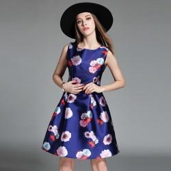 Vestido Cetim Estampado Floral Curto Azul