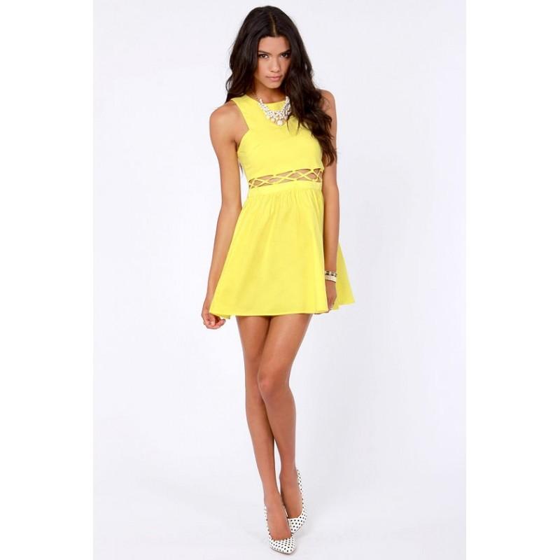 Vestido Curto Amarelo Importado Sexy