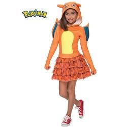 Fantasia Infantil Pokemon Go Charizard Vestido Meninas