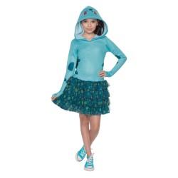 Fantasia Infantil Meninas Pokémon Go Personagem Bubasauro Vestido