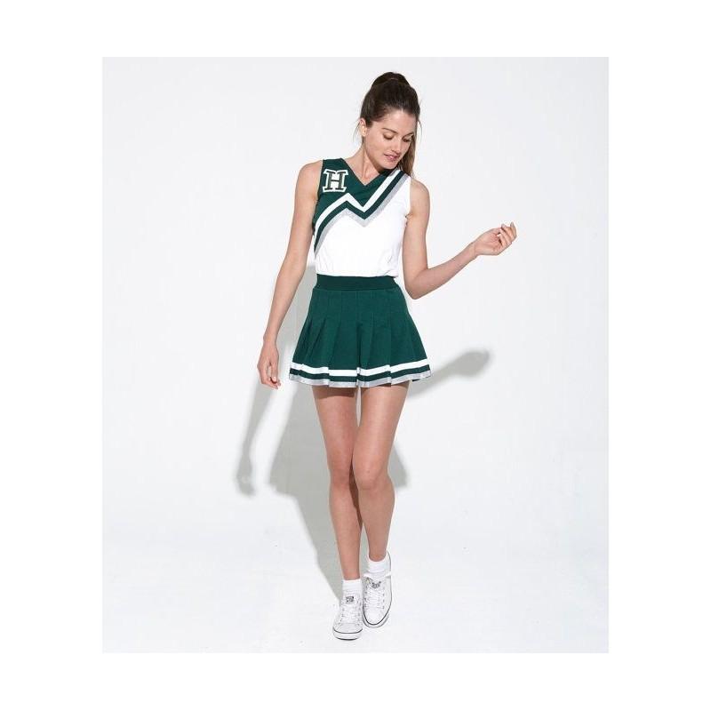 d9a288f41 Fantasia Adulto Feminina Lider de Torcida Verde e Branca Carnaval Halloween