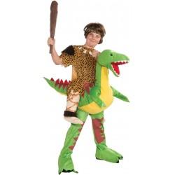 Fantasia Infantil Menino das Cavernas Dinossauro Verde Carnaval Halloween