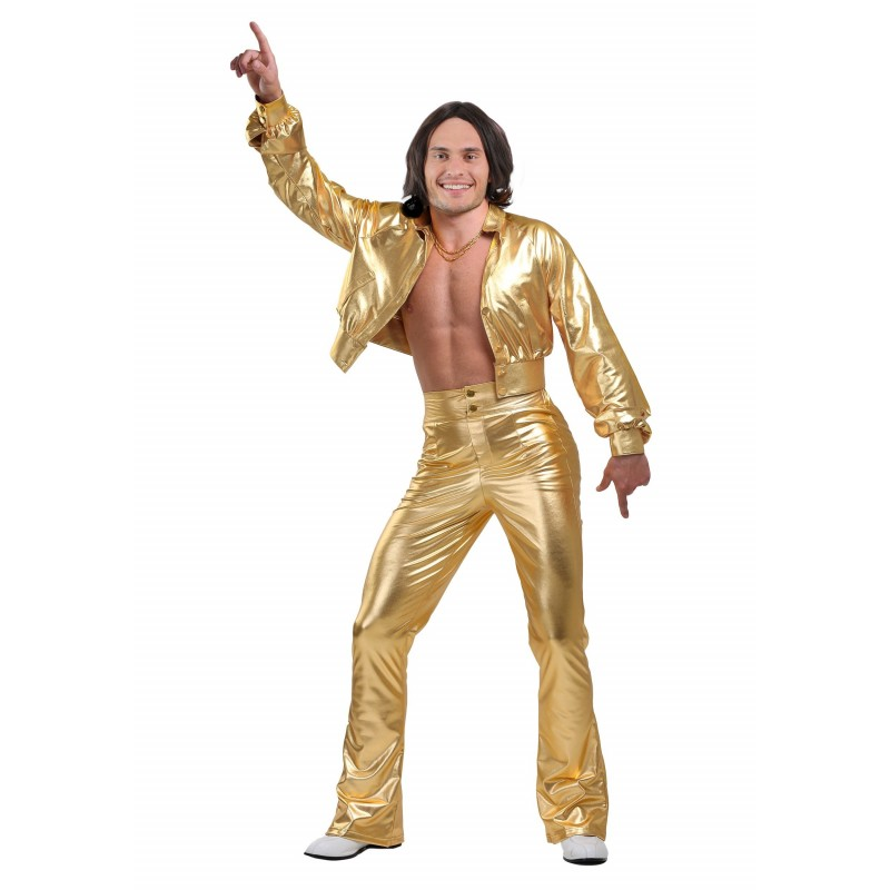 Fantasia Masculina Disco Dourada Anos 70 - Importada
