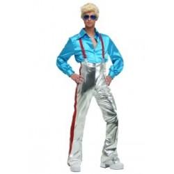 Fantasia Masculina Disco Azul Anos 70 com Peruca - Importada