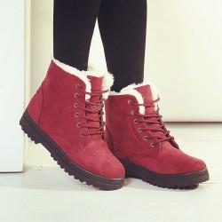 Bota de Neve Feminina Inverno Vermelha com Pelo Cano Curto Importada