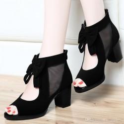 Sapato Feminino Peep Toe Salto Geométrico 6cm Preto Importado