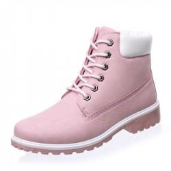 Bota Feminina Ankle Boot Rosa Importada Salto Baixo