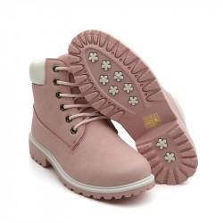 Bota Feminina Ankle Boot Rosa Couro Importada Cadarço