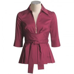Blusa Tafetá manga 3/4 Vermelha Bordô com botões