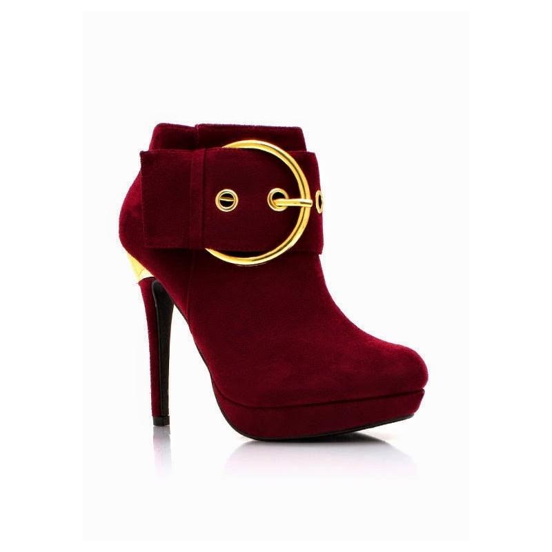 Bota Ankle Boot Vermelha Feminina Importada Camurça