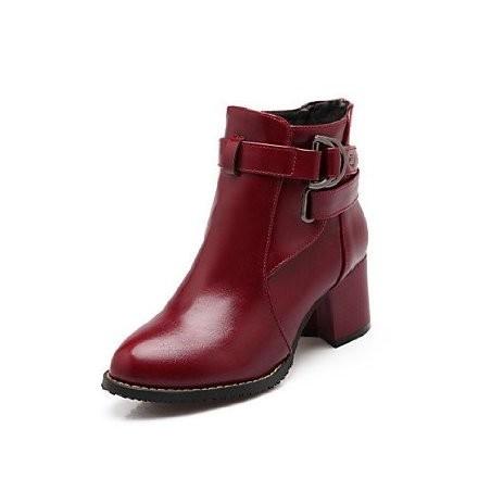 Bota Ankle Boot Vermelho Vinho Feminina Importada Couro
