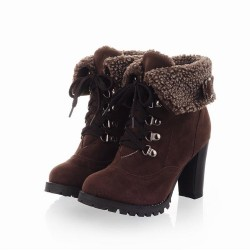 Bota Ankle Boot Marrom Inverno Feminina Importada Camurça