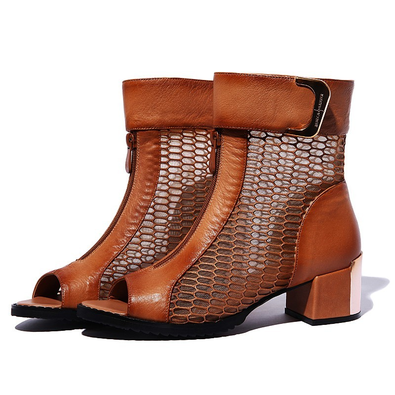 Bota Cano Baixo Ankle Boot Marrom Couro Importada