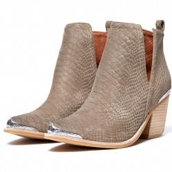 Bota Cano Curto Ankle Boot Bege Nude Couro Importada