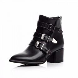 Bota Couro Preta Ankle Boot Fivelas Salto Geométrico Importada