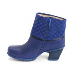 Bota Ankle Boot Azul Salto Geométrico Importada