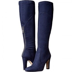 Bota Cano Longo Jeans Azul Salto Geométrico 10cm Importada