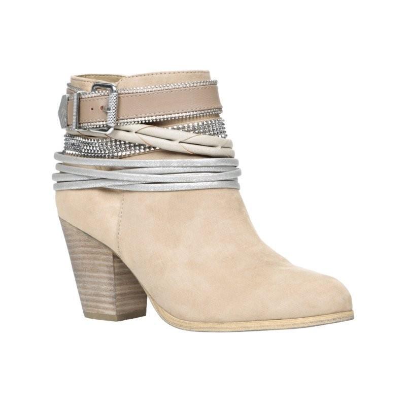 Bota Ankle Boot Bege Nude com Salto Geométrico Quadrado 6cm