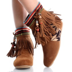 Bota Ankle Boot Franjas Tribal Marrom Couro