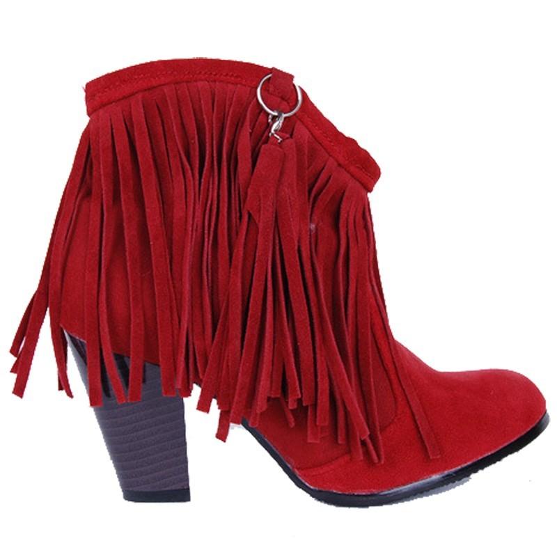 Bota Ankle Boot Vermelha Franjas Marrom Salto Geométrico