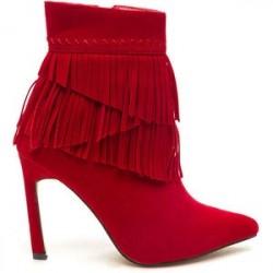 Bota Ankle Boot Vermelha Franjas Salto Alto Agulha