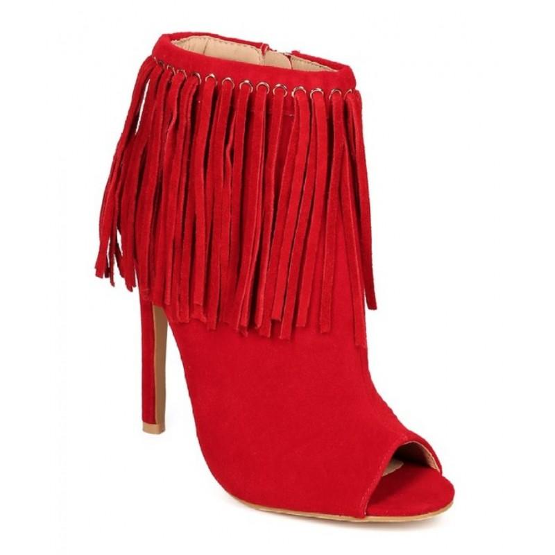 Bota Ankle Boot Vermelha Peep Toe Franjas Salto Alto Agulha