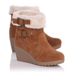 Bota Feminina Ankle Boot Inverno Anabela Marrom