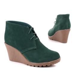 Bota Feminina Ankle Boot Cadarço Anabela Verde