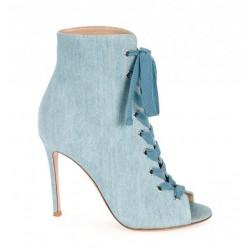 Sapato Feminino Peep Toe Cadarço Azul Jeans Salto Agulha
