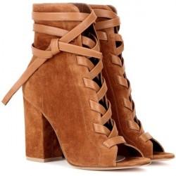 Sapato Feminino Peep Toe Cadarço Marrom Salto Geométrico