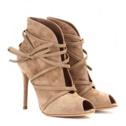 Sapato Feminino Peep Toe Tiras Marrom Nude Salto Agulha