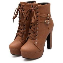Bota Plataforma Feminina Marrom Cadarço Salto Alto Ankle Boot