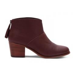 Bota Ankle Boot Couro Vermelho Vinho Salto Geométrico