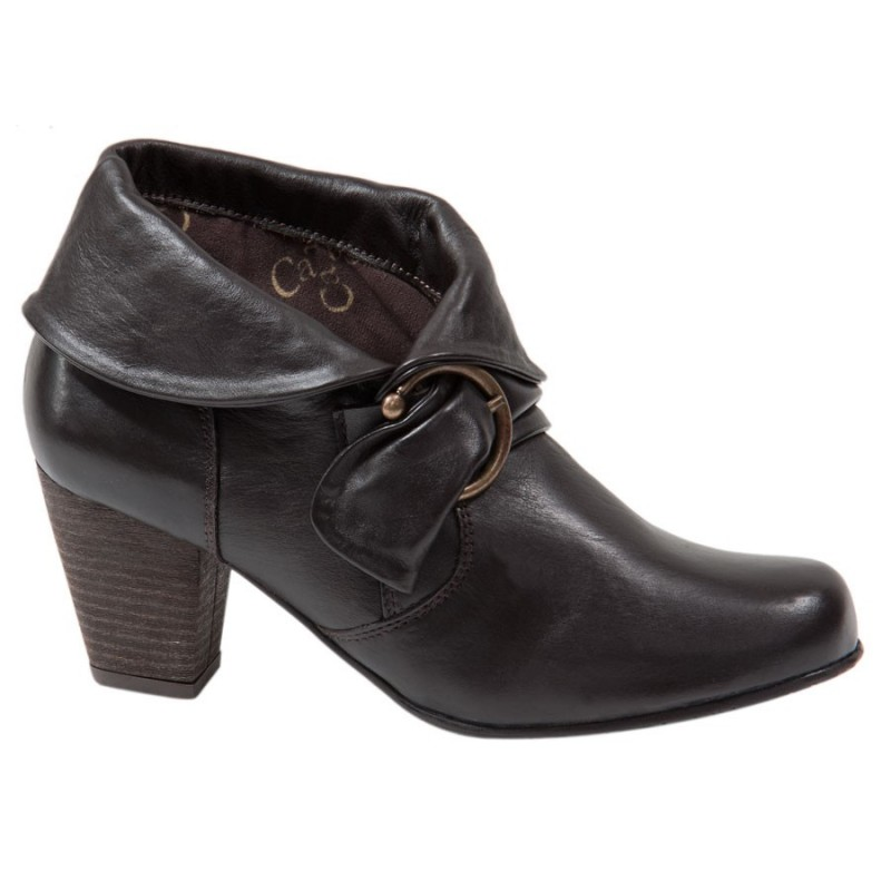 Bota Ankle Boot Couro Marrom Salto Geométrico