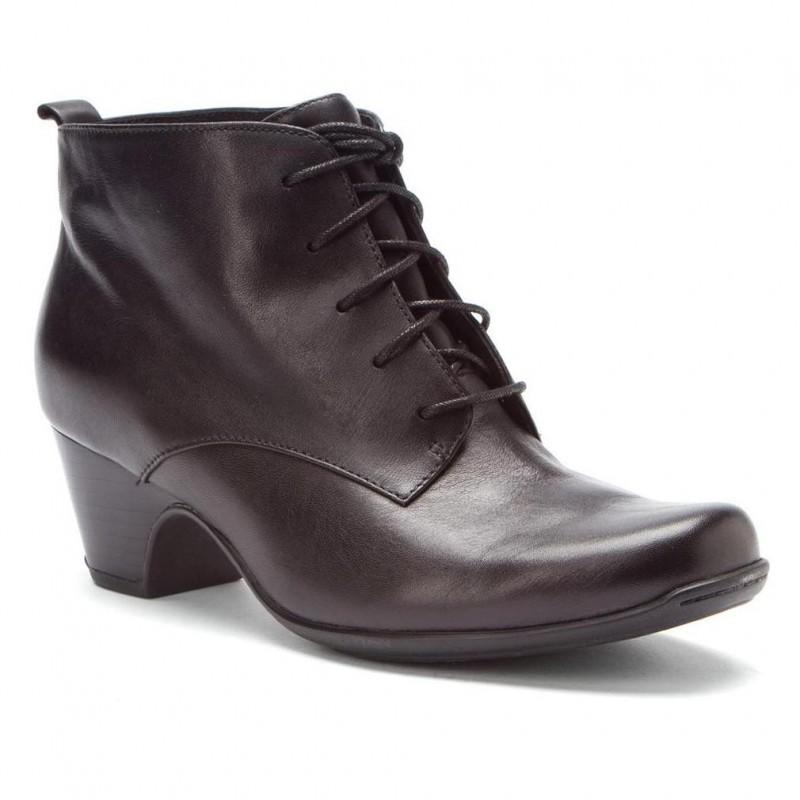 Bota Ankle Boot Oxford Couro Marrom Salto Geométrico