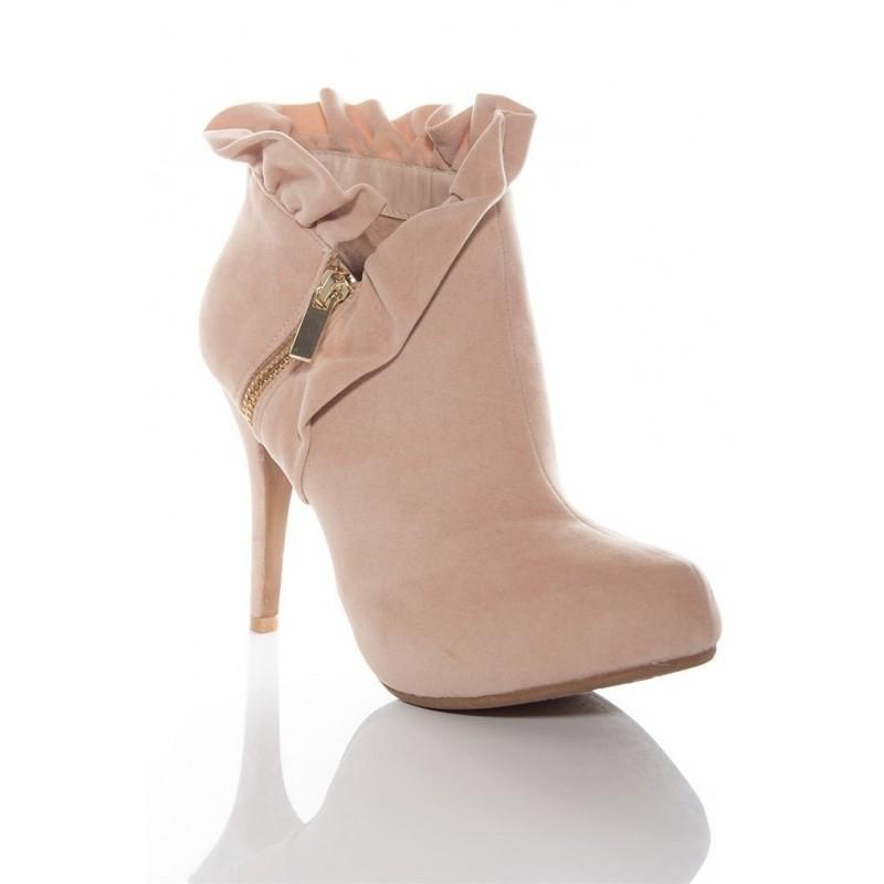 Bota Feminina Ankle Boot Nude Salto Alto Agulha