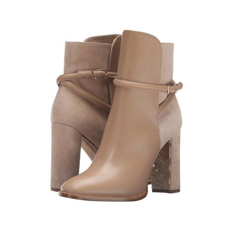 Bota Feminina Ankle Boot Nude Salto Alto Geométrico