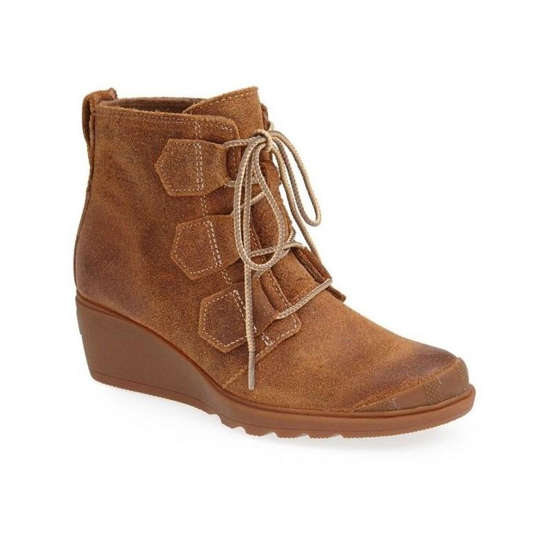 Bota Feminina Anabela Ankle Boot Camurça Marrom