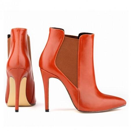 Bota Feminina Ankle Boot Couro Vermelha Salto Agulha