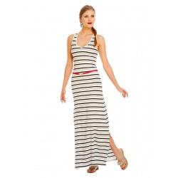 Vestido Longo Listrado Malha Verão Maxi Dress