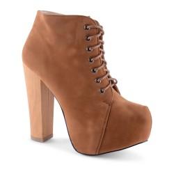 Bota Ankle Boot Marrom Feminina Salto Geométrico Plataforma