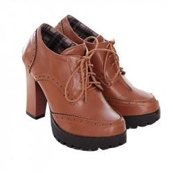 Bota Ankle Boot Marrom Oxford Salto Geométrico Plataforma