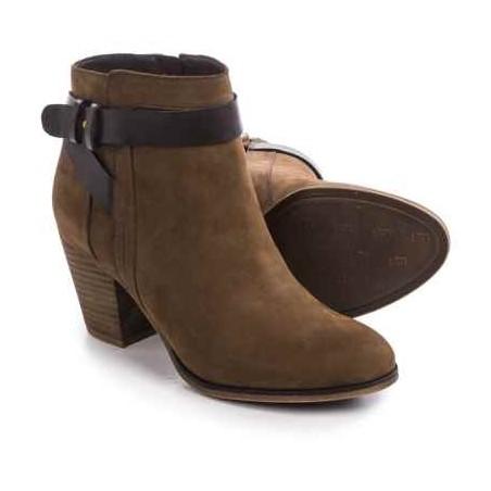 Bota Feminina Ankle Boot Marrom Salto Geométrico