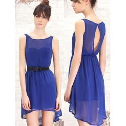 Vestido Curto Seda Azul Leve Fluido