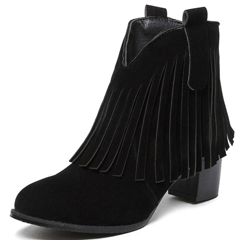 Bota Feminina Ankle Boot Preta Tiras Salto Geométrico