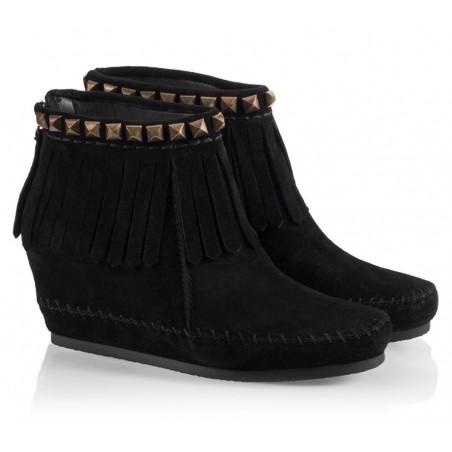 Bota Feminina Ankle Boot Preta Tiras Plataforma
